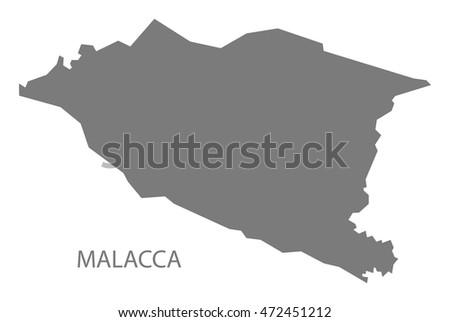 Malacca Malaysia Map Grey Stock Vector Royalty Free 472451212