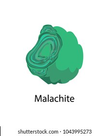 Malachite copper carbonate hydroxide mineral, opaque, green banded mineral crystallizes in the monoclinic crystal system vector malachite isolated