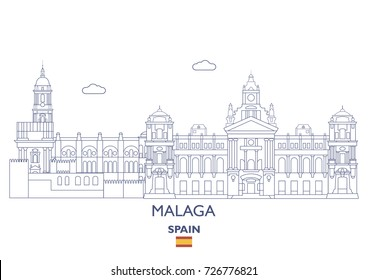 Malaga Linear City Skyline, Spain