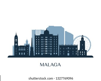 Malaga skyline, monochrome silhouette. Vector illustration.