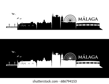 Malaga skyline - Spain - vector illustration
