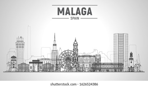 Malaga, Spain (Andalusia) line skyline with panorama at white background. Vector Illustration. Business travel and tourism concept with modern buildings. Image for banner or web site