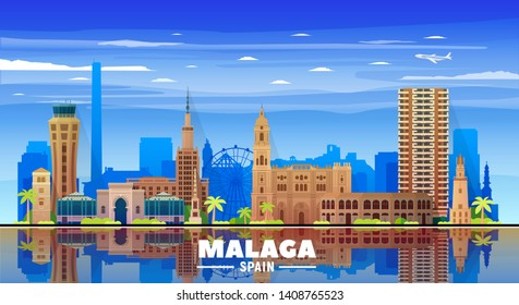 Malaga, Spain (Andalusia) skyline with panorama on white background. Vector Illustration. Business travel and tourism concept with modern buildings. Image for banner or web site