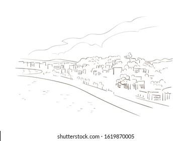 Malaga Spain Europe vector sketch city illustration line art