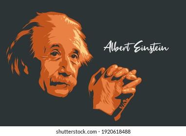 Malang, East Java - Indonesia - 20 February 2021: Albert Einstein detail silhouette portrait line art vector illustration. Eps 10.
