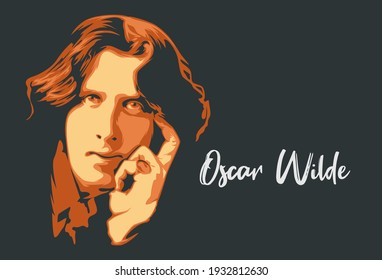 Malang, Indoneisa - March 10th 2021: Oscar Wilde line art portrait vector illustration template. Historical people. Eps10.