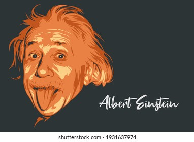 Malang, Indonesia - March 6th 2021: Albert Einstein portrait line art vector illustration template. Eps 10. Historical people