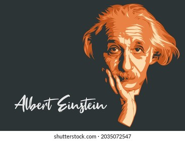 Malang, Indonesia: September 2nd, 2021: Albert Einstein line art portrait vector illustration template. Historical people for education. Eps10. Editorial
