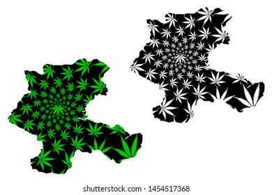 Malatya (Provinces of the Republic of Turkey) map is designed cannabis leaf green and black, Malatya ili map made of marijuana (marihuana,THC) foliage,
