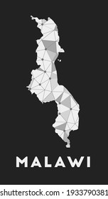 Malawi - communication network map of country. Malawi trendy geometric design on dark background. Technology, internet, network, telecommunication concept. Vector illustration.