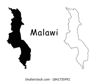 Malawi Country Map. Black silhouette and outline isolated on white background. EPS Vector