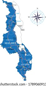 Malawi highly detailed political map