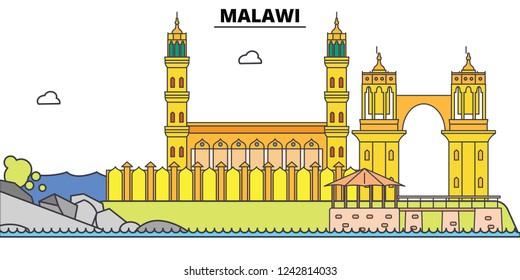 Malawi line skyline vector illustration. Malawi linear cityscape with famous landmarks, city sights, vector, design landscape.