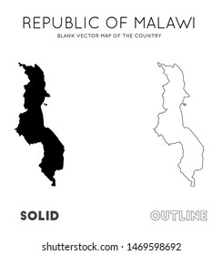 Malawi map. Blank vector map of the Country. Borders of Malawi for your infographic. Vector illustration.