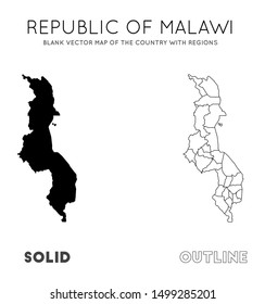 Malawi map. Blank vector map of the Country with regions. Borders of Malawi for your infographic. Vector illustration.