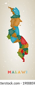 Malawi map. Country poster with colored regions. Old grunge texture. Vector illustration of Malawi with country name.