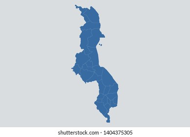 Malawi map on gray background vector, Malawi Map Outline Shape Blue on White Vector Illustration. Map of Africa. Symbol for your web site design map logo. app,ui. eps10.