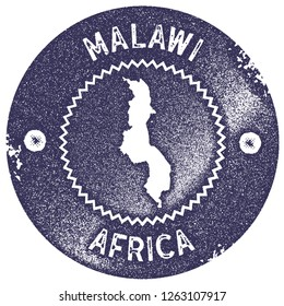 Malawi map vintage stamp. Retro style handmade label, badge or element for travel souvenirs. Deep purple rubber stamp with country map silhouette. Vector illustration.