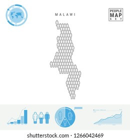 Malawi People Icon Map. People Crowd in the Shape of a Map of Malawi. Stylized Silhouette of Malawi. Population Growth and Aging Infographic Elements. Vector Illustration Isolated on White.