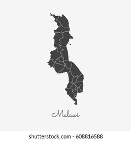 Malawi region map: grey outline on white background. Detailed map of Malawi regions. Vector illustration.