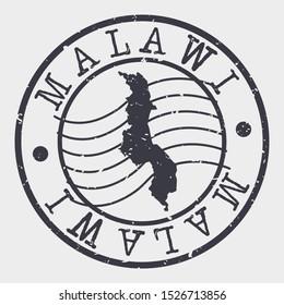 Malawi Stamp Postal. Map Silhouette Seal. Passport Round Design. Vector Icon. Design Retro Travel.