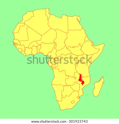 Malawi On Africa Map.Malawi Vector Map Isolated On Africa Stock Vector Royalty Free
