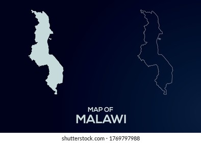 Malawi vector map silhouette isolated.Abstract design, High detailed silhouette illustration. Full Editable Malawi map vector file.