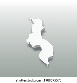 Malawi - white 3D silhouette map of country area with dropped shadow on grey background. Simple flat vector illustration