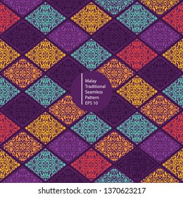 malay colorful traditional seamless pattern background