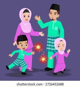 Malay family celebrating the Hari Raya Aidilfitri