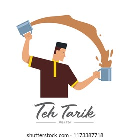 Malay man making Teh Tarik, Indonesian traditional Milk Tea.