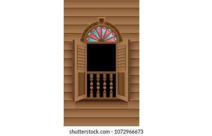 A Malay style wooden window, with colorful glasses and door.