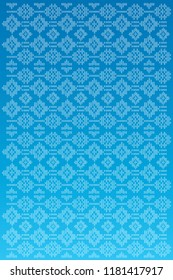 A Malay traditional embroidery fabric. Songket suasa design bright blue colour with flowery motif elements.