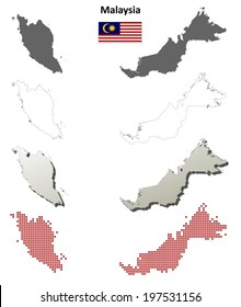 Malaysia blank detailed outline map set - vector version