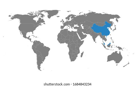 Malaysia, china countries highlighted on world map. Business, political, health, trade and tourism.
