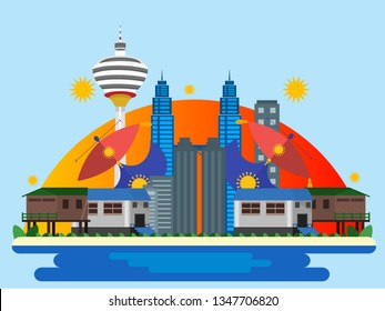 Malaysia country design illustration template. World vacation travel Asia Asian collection