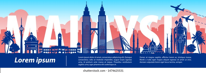 Malaysia famous landmark silhouette style,text within,vector illustration