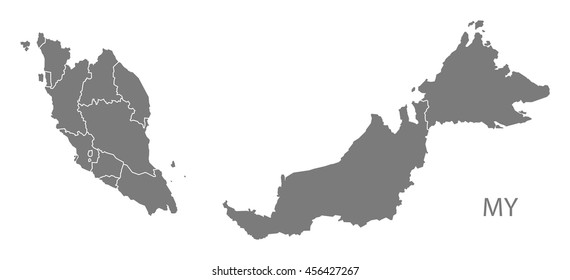 Malaysia federal states Map grey