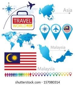 Malaysia. flag. Asia. World Map. Travel vector Illustration.