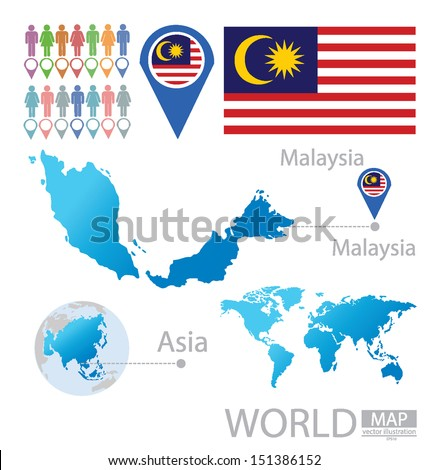 Malaysia On The World Map.Malaysia Flag Asia World Map Vector Stock Vector Royalty Free