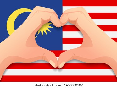 Malaysia flag and hand heart shape. Patriotic background. National flag of Malaysia vector illustration