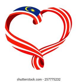 Malaysia flag ribbon-shaped heart, symbol of love and harmony, vector illustration.