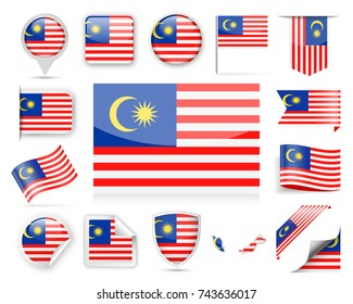 Malaysia Flag Set - Vector Illustration
