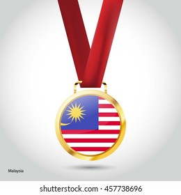Malaysia Flag in Silver Medal. Vector Illustration. RIO Olympic Game gold Medal. Vector Illustration