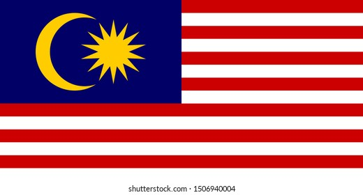 Malaysia Flag Vector - Official Malaysia Flag With Original Color and Size Proportion