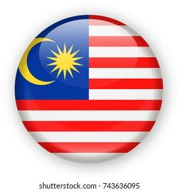 Malaysia Flag Vector Round Icon - Illustration