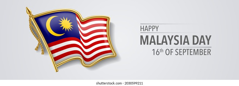 Malaysia happy day greeting card, banner with template text vector illustration. Malaysian memorial holiday 16th of September design element with 3D flag with crescent