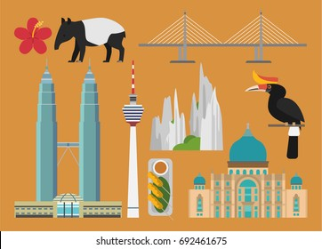 Malaysia illustration, vector, landmark, culture, travel