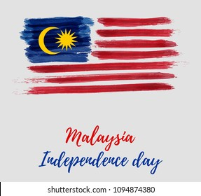 Malaysia Independence day background. With grunge painted  flag of Malaysia. Hari Merdeka holiday. Template for poster, banner, flyer, invitation, etc.