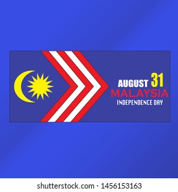 Malaysia Independence Day banner with stripes of Malaysia flag. Vector illustration concept